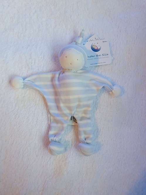 Organic blue & white stripe baby buddy