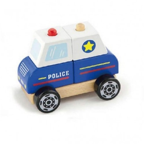 Wooden stacking police car