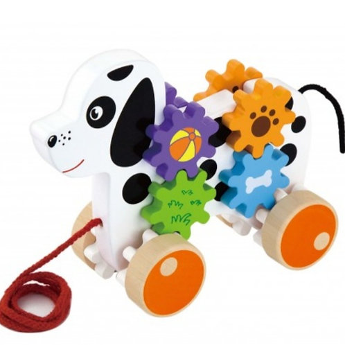 Wooden pull along dog with gears