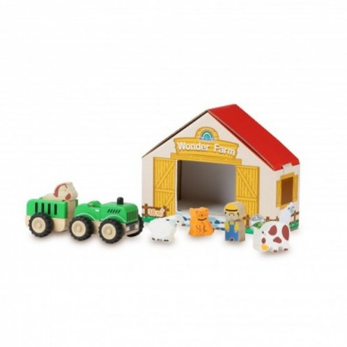Wooden tractor set complete with card barn