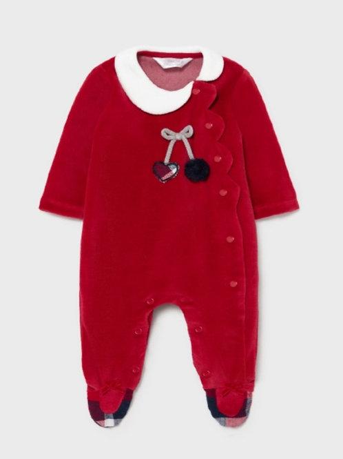Red velour onesie