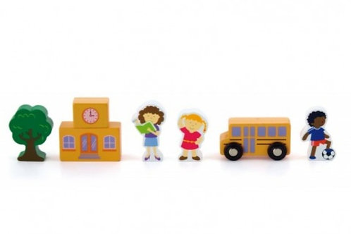 Wooden train set accessorie school