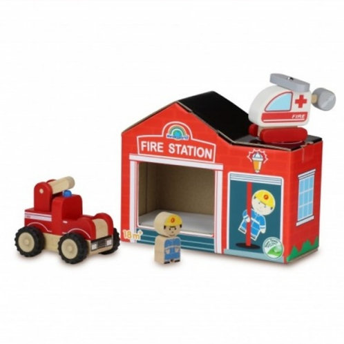 Wooden fire engine with card fire house