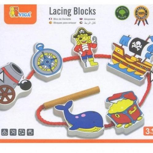 Wooden pirate lacing blocks