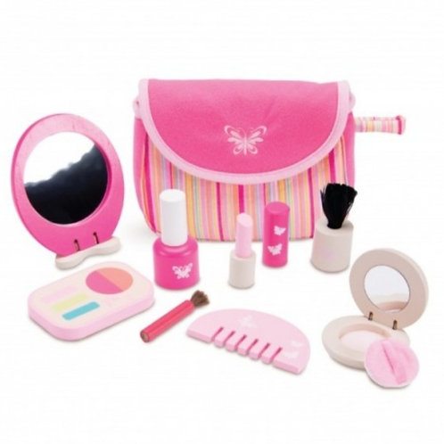 Wooden makeup set complete with fabric bag