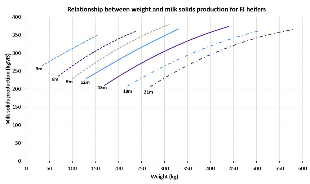 The relationship between weight and milk solids production for Holstein-Friesian-Jersey crossbreed dairy heifers aged between 3 and 21 months of age (m)