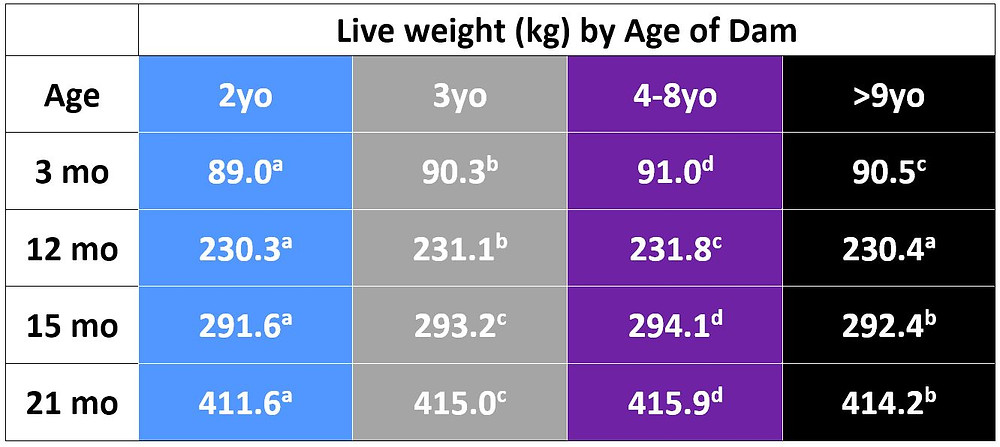 Table 1: Live weight (LWT in kg) of heifers that were born to dams aged 2, 3, 4-8 or 9 years and over.