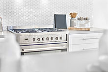 Modern gas stove top view with kitchen u