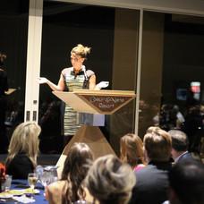 Katie Hunt speaks to the crowd Elevate 2