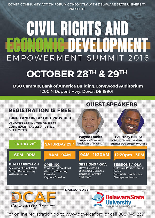 Civil Rights and Economic Development @ DSU Campus, Bank of America Building, Longwood Auditorium | Dover | Delaware | United States