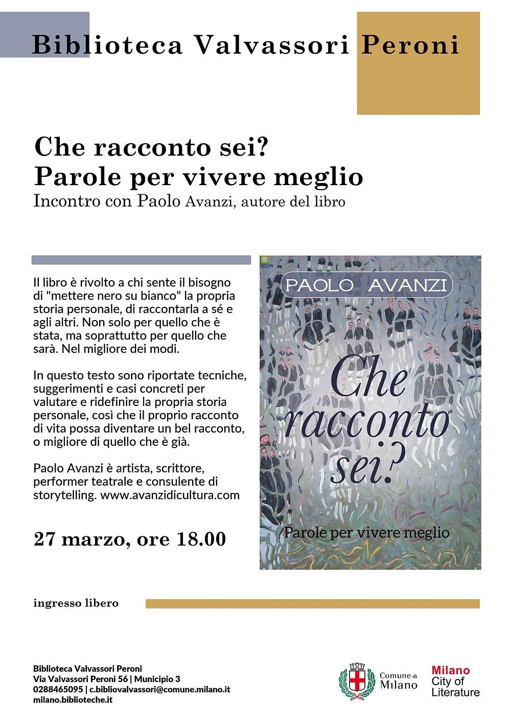 Che racconto sei di Paolo Avanzi alla Biblioteca Valvassori