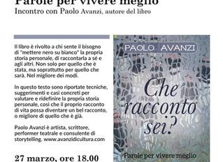 """Paolo Avanzi presenta  """"Che racconto sei?"""" alla Biblioteca Valvassori"""