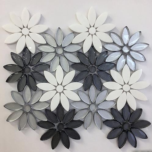 Flower Thassos with Light & Dark Grey Glass Waterjet Pattern