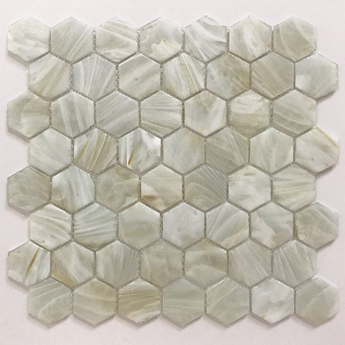 Fuse Glass hexagons mosaics are unique glass tiles that will work on shower walls, and bathroom walls