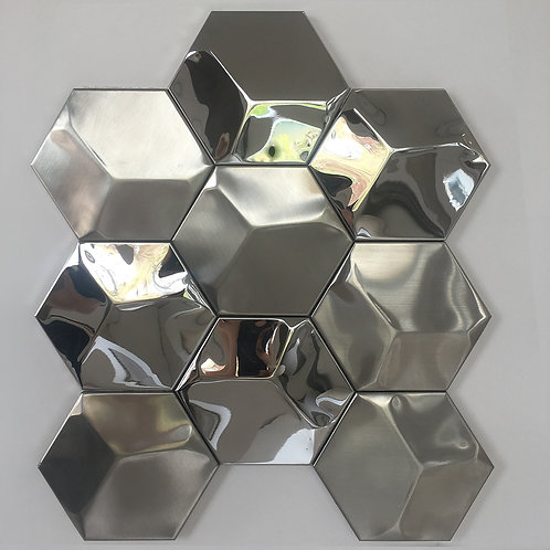 This stainless metal hexagonal tile adds depth and dimension to whatever wall on which it is installed