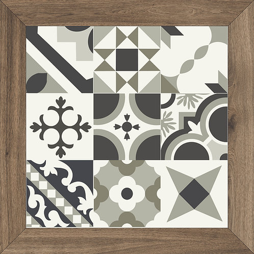 A unique porcelain tile with traditional black and white patterns but unique with a wood like border