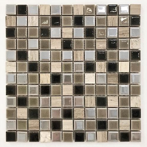 "A warm mix of 1""x1"" mosaics ideal for a fireplace surround, shower floor, backsplash"