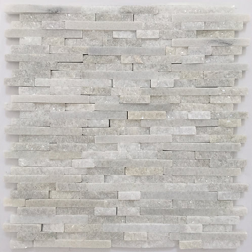 Bianco Hizhou Splitface rectangles made up of both polished marble pieces and rough organic marble pieces