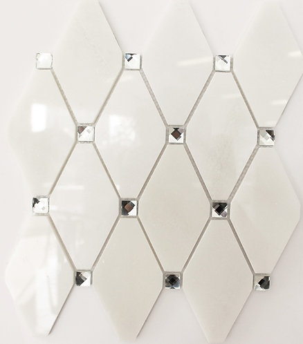 glass tile and marble tile combined in a diamond shape to add bling to your white wall tiles