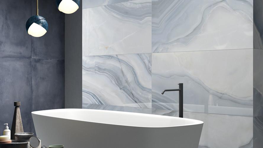 Stone Agata Ocean Blue Polished install
