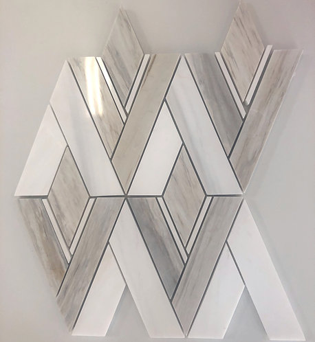 Neil Diamond marble mosaic is both classic and modern combining an art deco feel with classic marbles