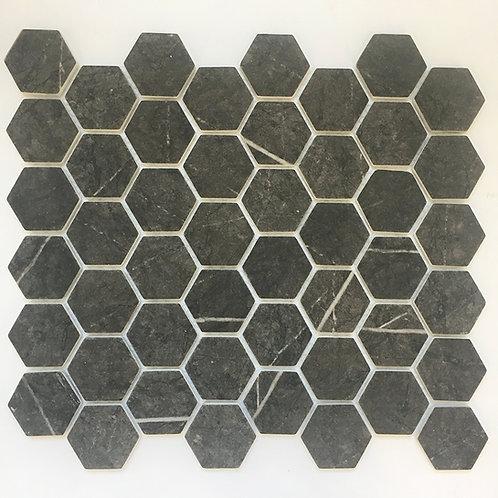 enamel hexagon gris pulpis in a matte finish will enhance bathroom interior designs