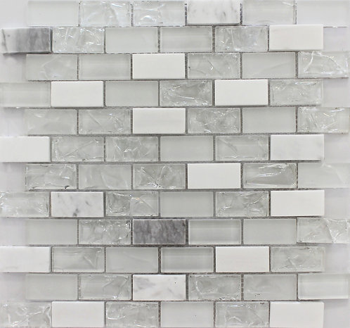 Carrara Ice Glass Brick 12x12 Polished
