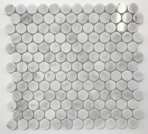 Bianco Carrara marble penny rounds perfect for a shower floor