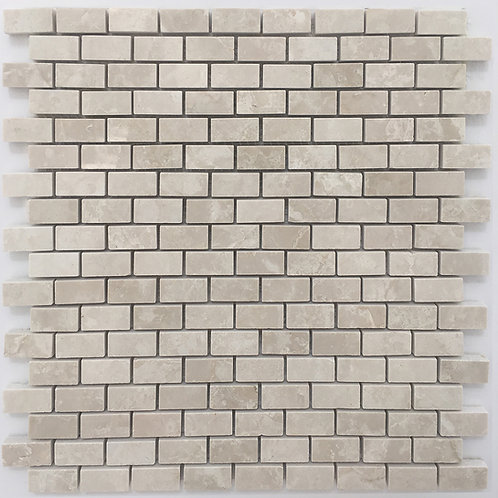 Flooring tile can be small mosaics, made in a brick joint pattern from Botticino, a popular Italian marble