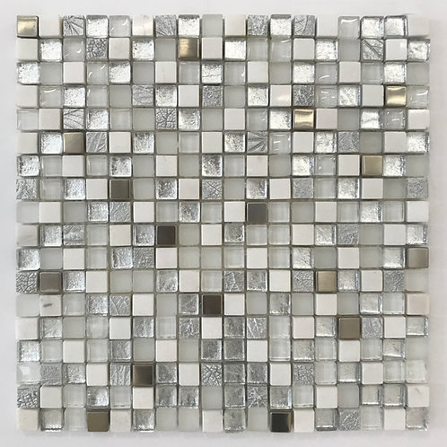 Silver leaf, stainless steel, marble and glass are mixed to create this one of a kind mosaic