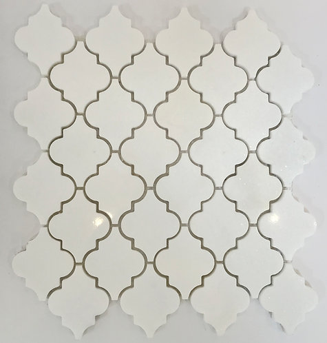 "An elegant pattern in beautifully simple Thassos marble, Arabesque Thassos 2"" Polished is sophisticated and refined"
