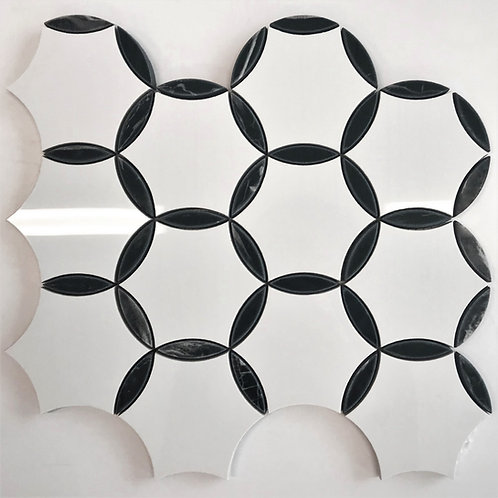 A pretty mosaic patterned porcelain tile in black and white classic yet trendy