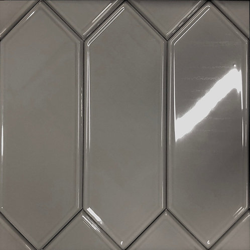 Marquise Hematite is a rich grey picket shaped ceramic tile ideal for wall applications