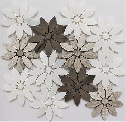 Flower White, Guizhou Light & Dark 9.5X11 Waterjet Pattern