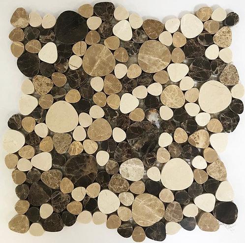 Pebbles Crema, Emperador Dark & Light Polished