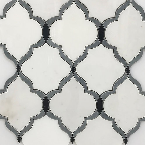Bach marble waterjet mosaic is simple, sophisticated and made out of white, grey and black polished marble