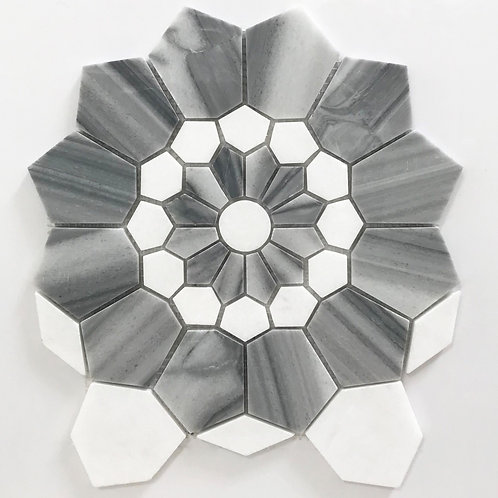 Eternity and white marble combine beautifully to make our Snow Flower & Eternity polished pattern