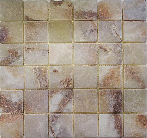 Light Green Onyx 2x2 tumbled stone tile