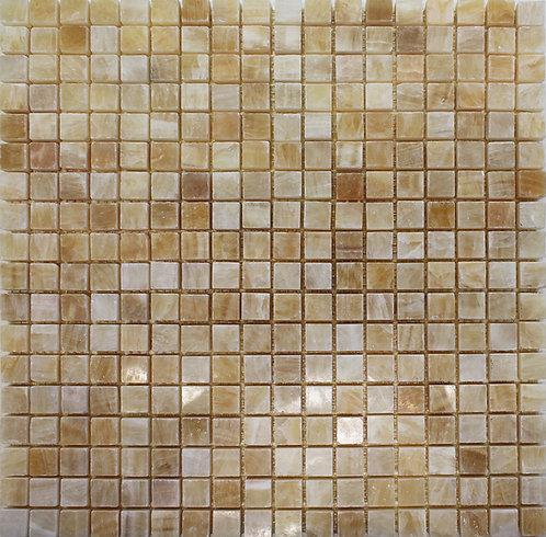 Yellow Onyx 15mmx15mm polished mosaics, full sheet pic