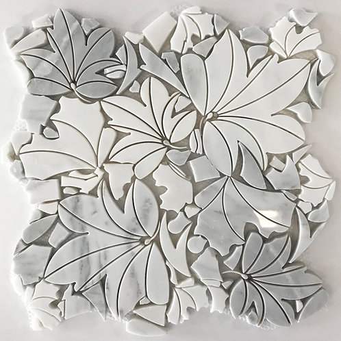 White Jungle waterjet marble carrara mosaic, inspired by nature, is beautiful for walls or floors