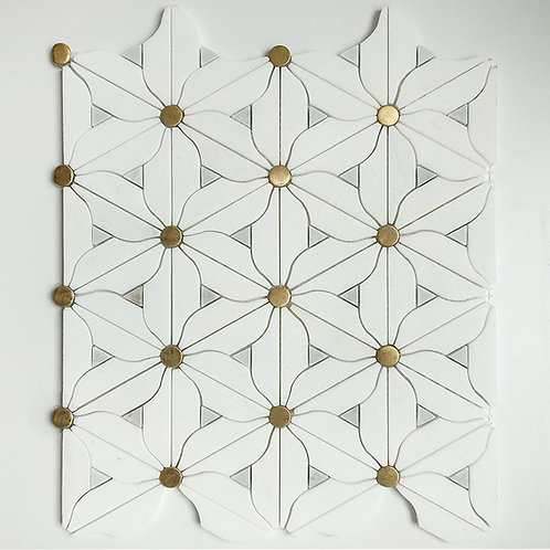 A stunning mosaic waterjet pattern in a flower design with brass accents