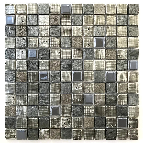 "A mix of textured grey, 1""x1"" mosaics, a square foot sheet of mixed patterned mosaics"