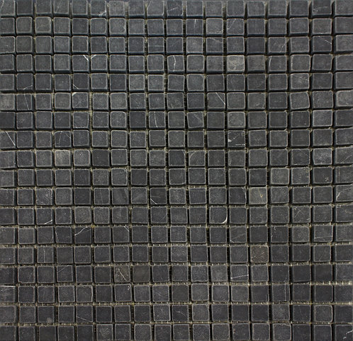 Marquinia a rich black tumbled marble mosaic perfect for kitchen and bathroom applications