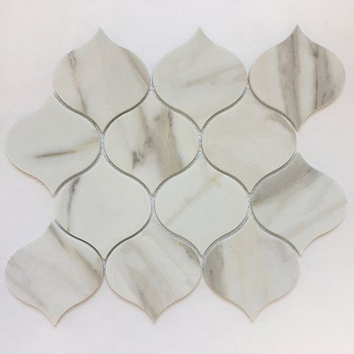 Waterdrop Enamel Calacatta, in a stunning organic shape, this enamel mosaic tile is versatile and durable