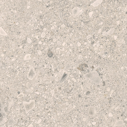HSV10 a porcelain tile that looks like terrazzo with hues of taupes, greys and beige full of life and strong