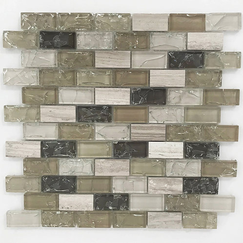 Glass mosaic tile in a brick pattern of a mix of colours and a splash of limestone