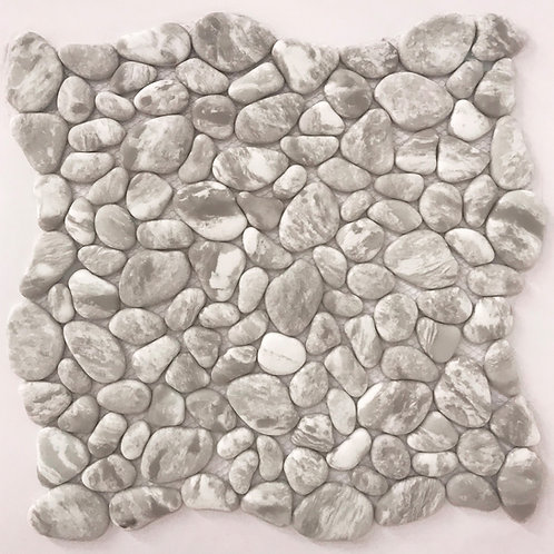Enamel river rock in white and grey can be used on your shower floors and in shower niches and will invite water to splash