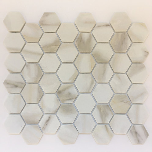 Enamel Calacatta hexagons have cool and warm tones on a white background making them versatile for design