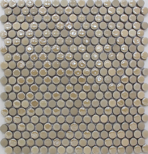 Penny round porcelain tiles perfect for shower floors, bathroom floors kitchen floors will add just the right amount of shine