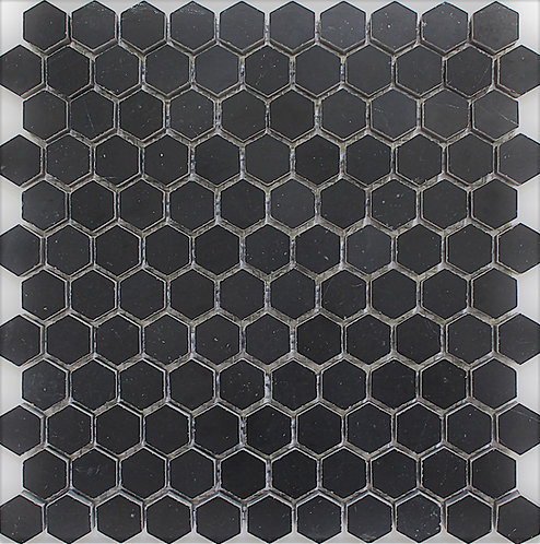 Marquinia is a Spanish marble seen here in a honed finish as a hexagonal mosaic